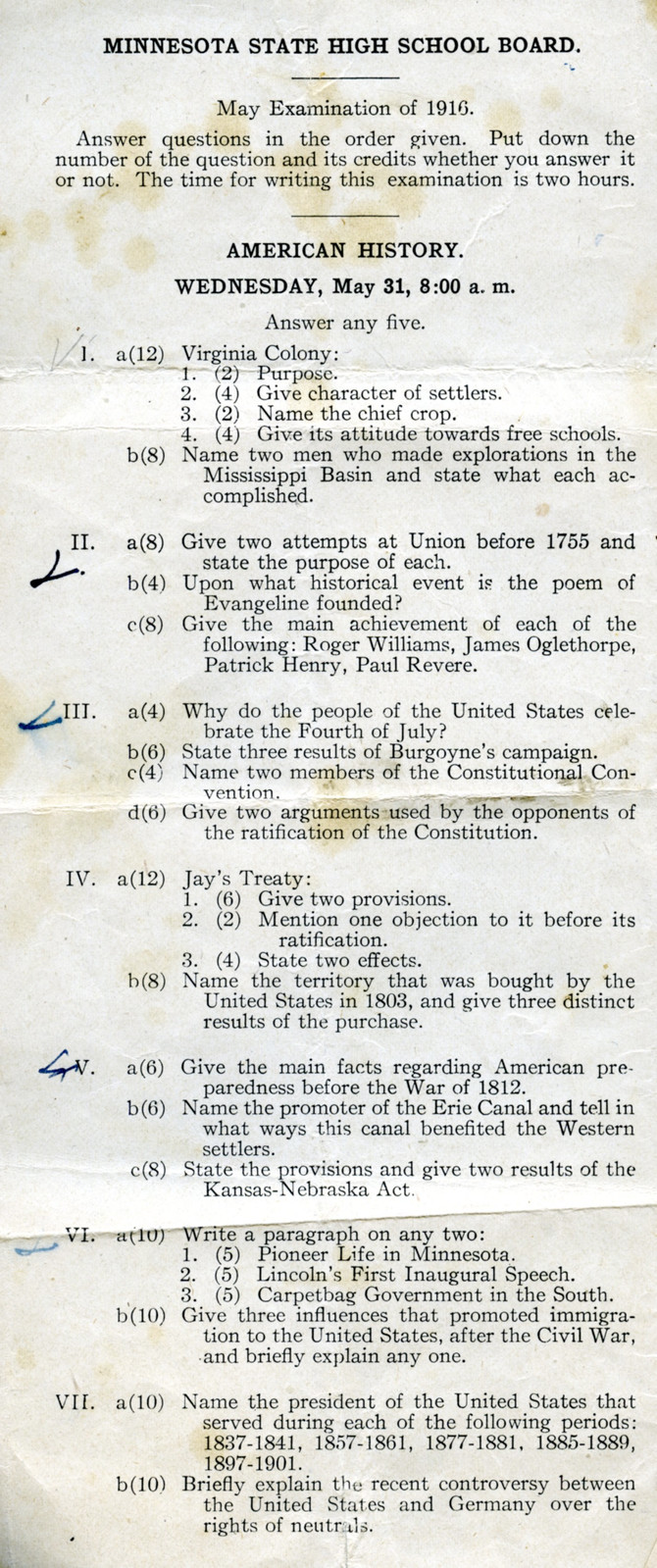 1916 Minnesota State High School Board Examinations