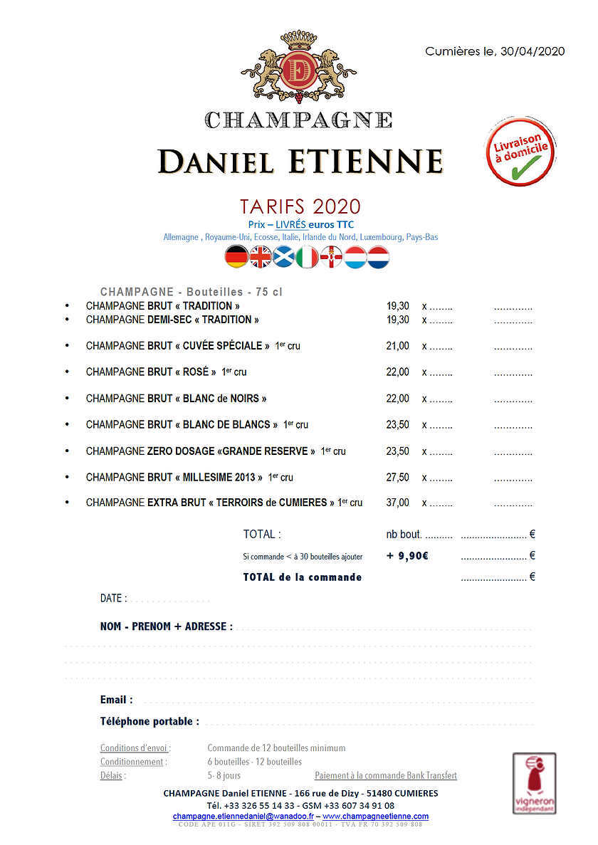TARIFS 8 PAYS EUROPEENS