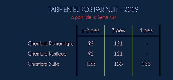 TARIFS CHAMBRE SEJOUR 3NUITS+