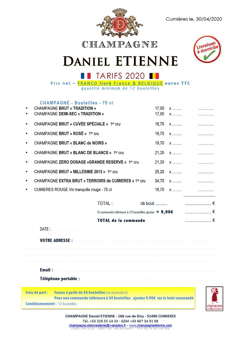 TARIFS AVRIL 2020 BELGIQUE FRANCE LIVRÉ