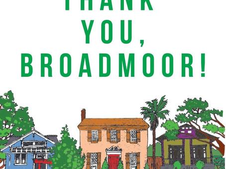 Thank you Broadmoor Residents!