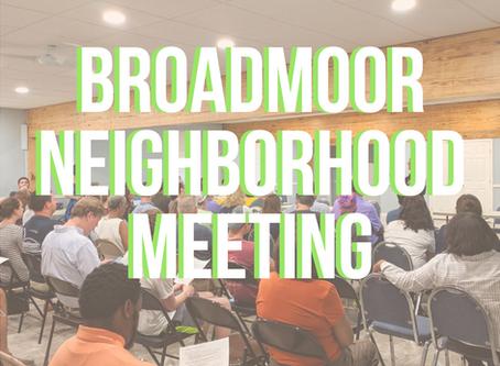 Broadmoor Neighborhood Meeting Notes — October 19, 2020