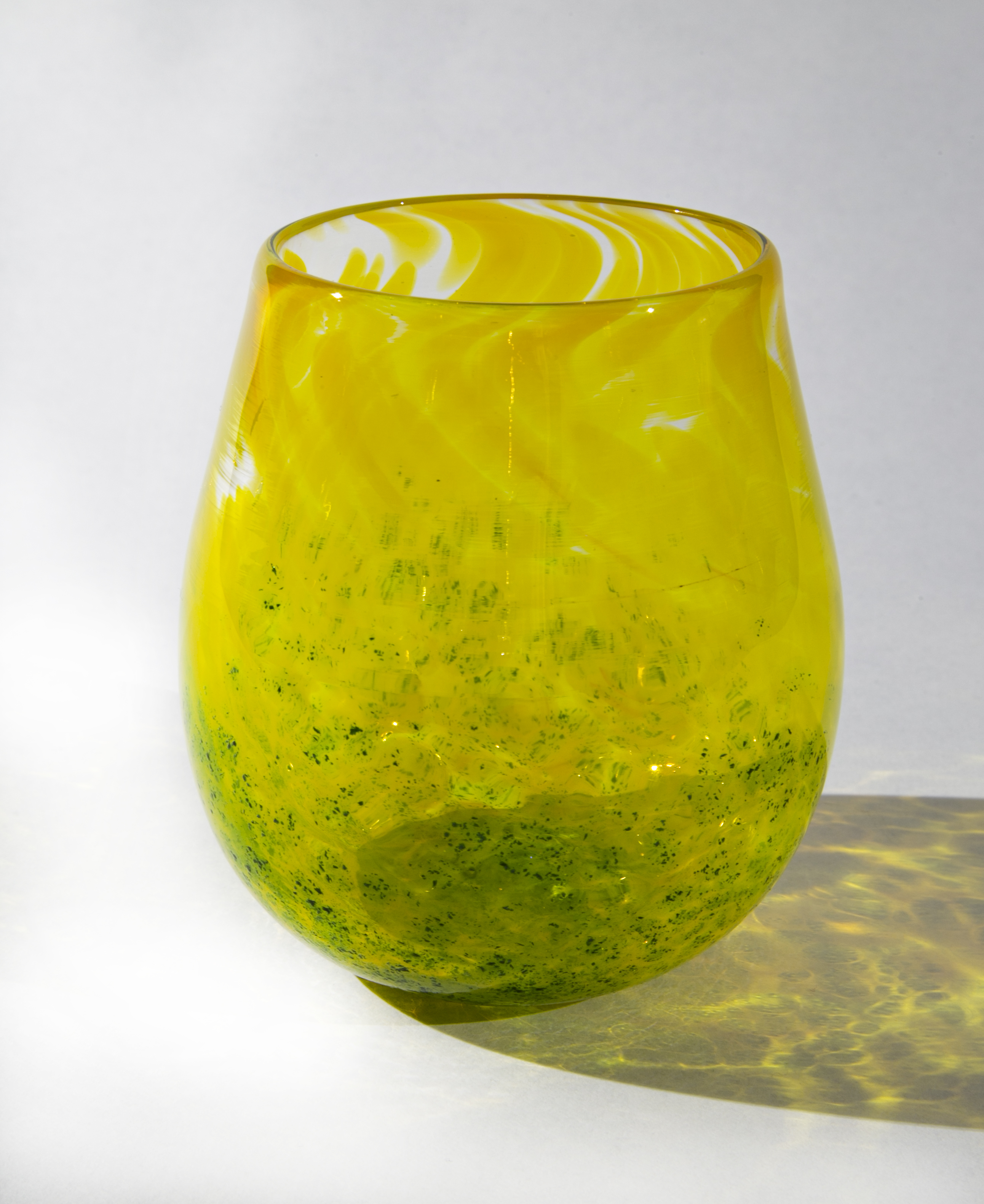 Yellow and Green Stemless Wine Glass