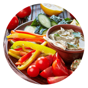 Red peppers and hummus or baba ganoush