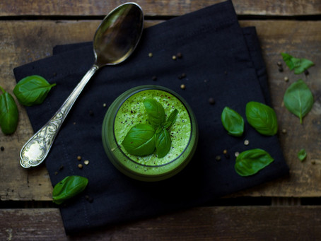 Warming courgette, pea and basil soup