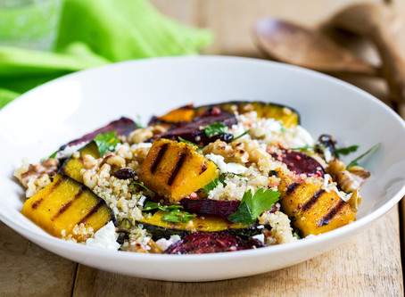Quinoa with roast veg and feta