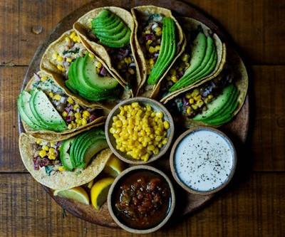 Vegan Avocado and Sweetcorn Salad Tacos