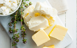 A plate of dairy and cheese