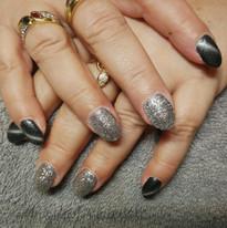 Antraciet tiger eye en zilver glitters
