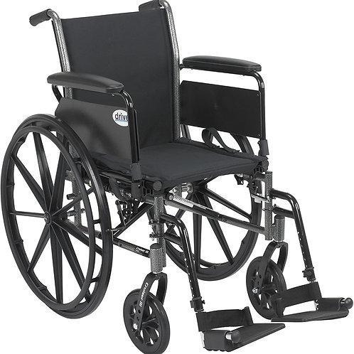 Drive Medical Cruiser III Light Weight Wheelchair Black, 16 Inch
