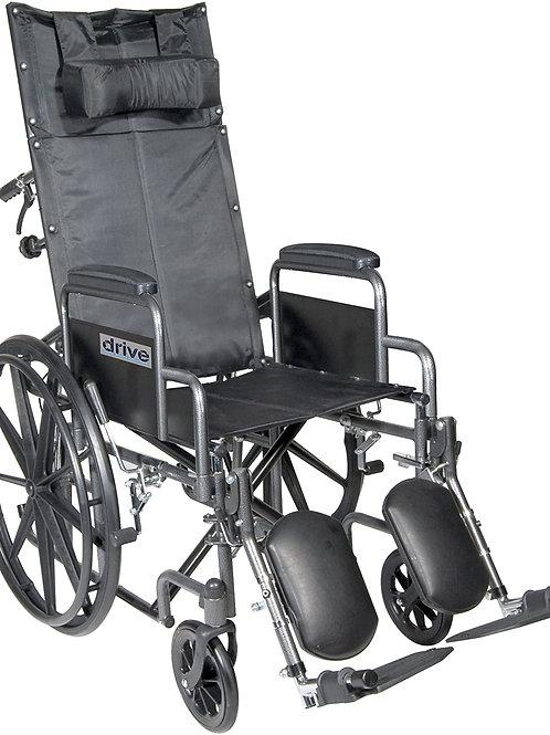Drive Medical SSP20RBDDA Silver Sport Reclining Wheelchair Silver Vein, 20 Inch