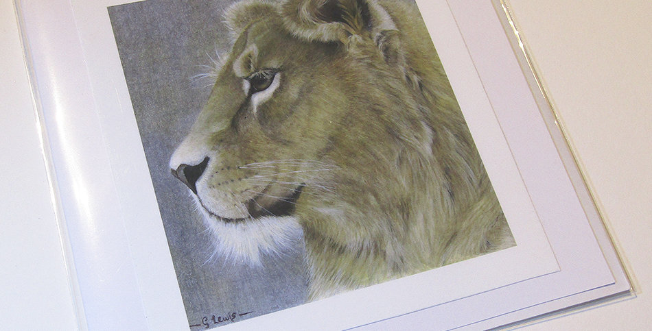 Handmade Lioness Greeting Card