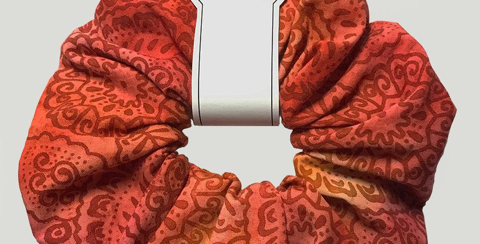Hand made Orange Batik design Hair Scrunchie