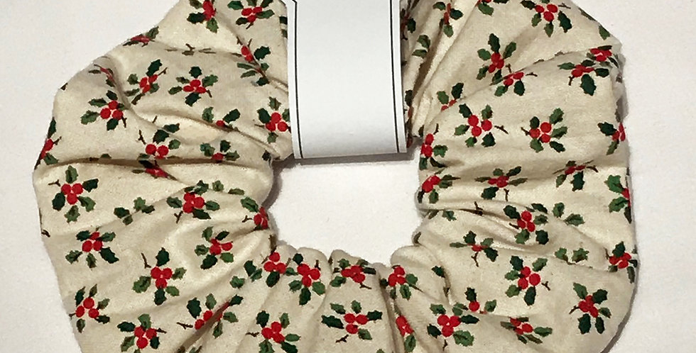 Hand made Yule Christmas Holly Hair Scrunchie