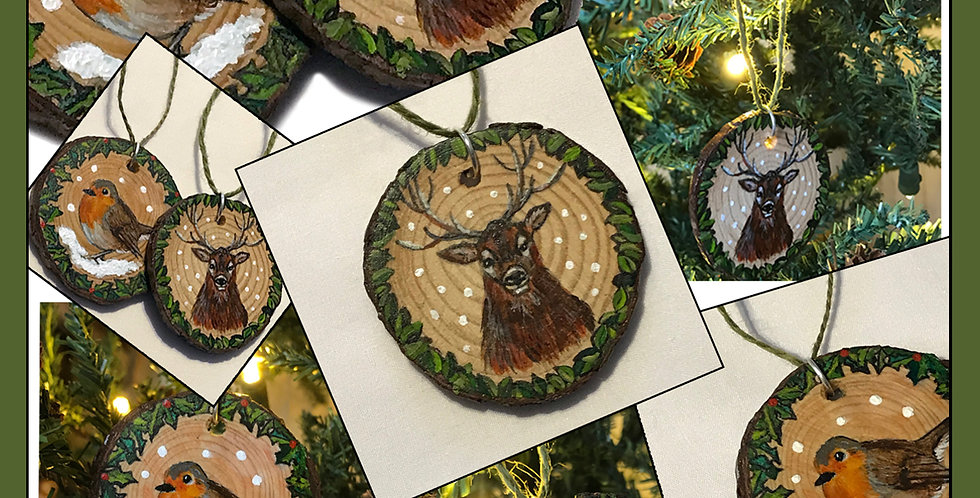 Hand painted Christmas decoration - STAG