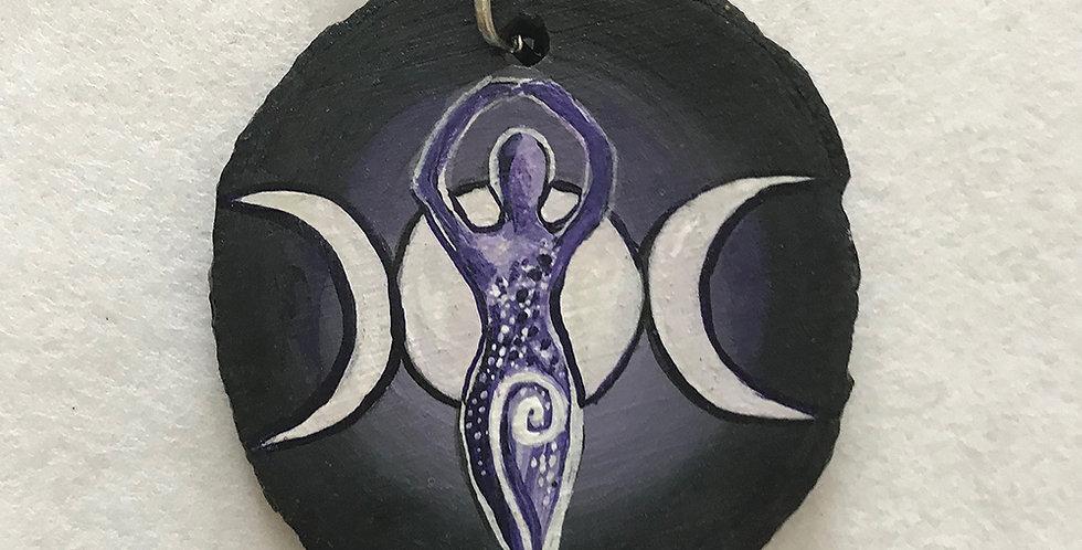 Triple Moon Goddess Original Art Pendant
