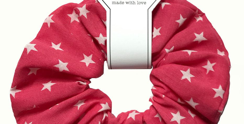 Hand made Light Red Starry Hair Scrunchie