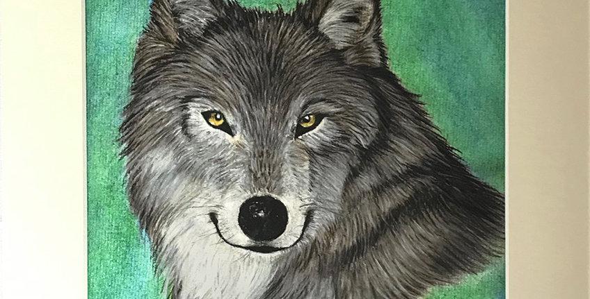 "Wolf print mounted 8 x 10"""
