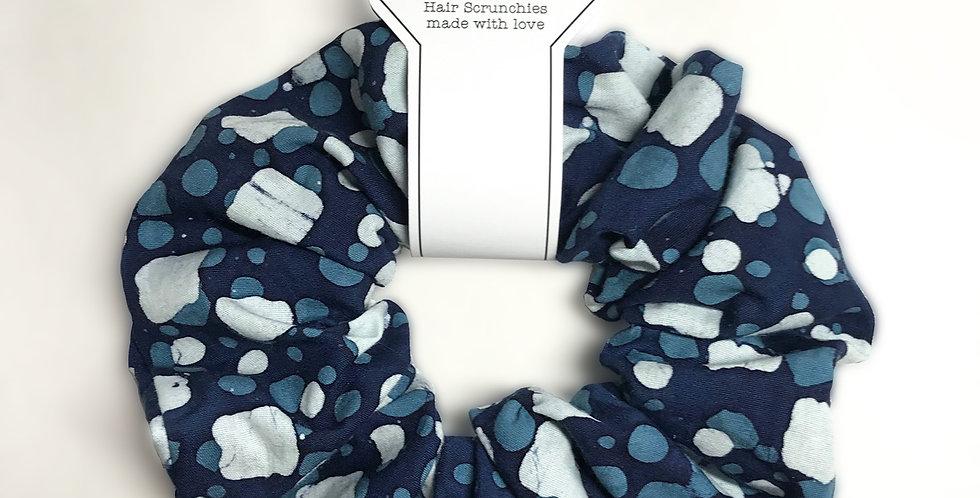 Hand made Blue block design Hair Scrunchie