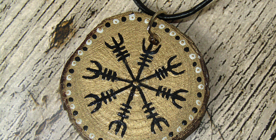 Helm of Awe wooden hand painted pendant