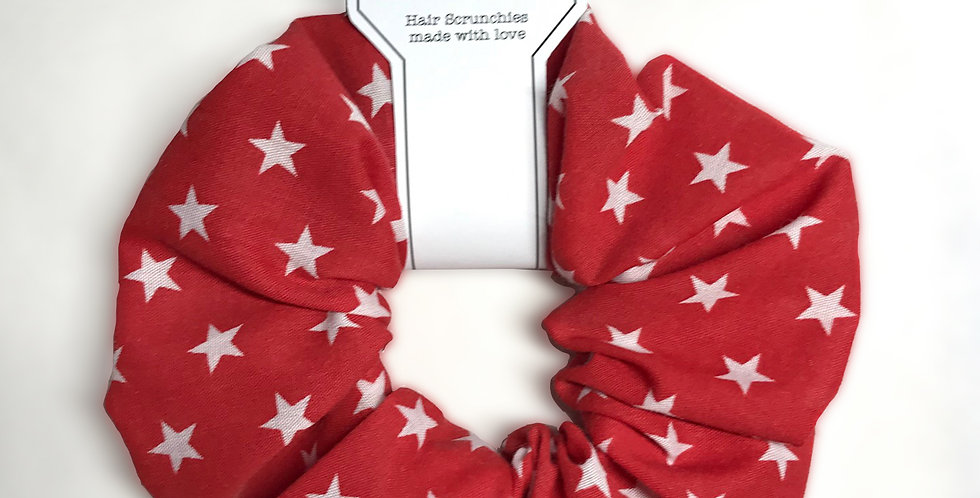 Hand made Red Starry Hair Scrunchie