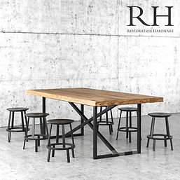 virtual staging furniture example of restoration hardware dining table and chair set