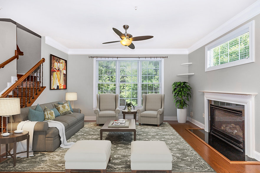 virtual staging example of designer furniture virtually staged living room
