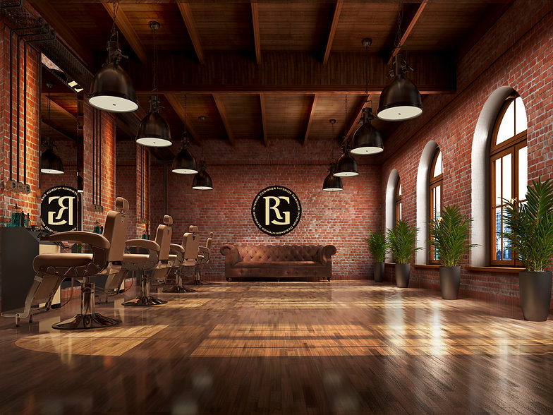 commercial virtual staging of an empty brick room to a virtually staged barber shop