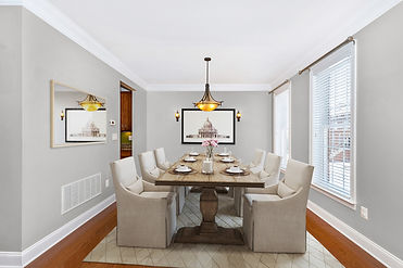 virtual staging before and after example of virtually staged dining room designer furniture