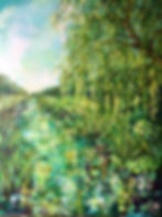 Tales of the Riverbank, paintin, art,river painting , colettebaumback ,artist, river stour