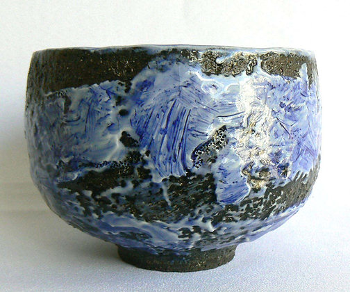 Footed Bowl - Blue Wave