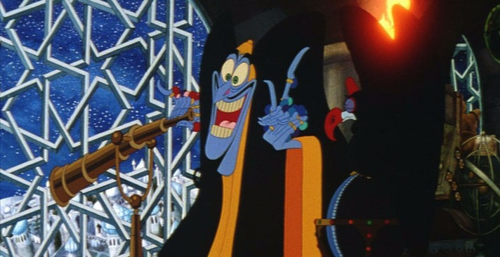 Zig-Zag the grand vizier, a blue long-faced man with skeletal fingers covered with jeweled rings, leers with mouth agape, standing next to a big window decorated in a star-themed arabesque. He has one hand on a telescope.