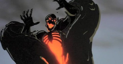 A menacing black skeleton whose chest is full of fire glares downwards with arms upraised wearing a cloak of thick oil.