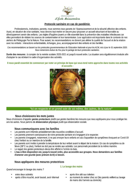 Protocole Pand├®mie  3 rentr├®e 2020-21-