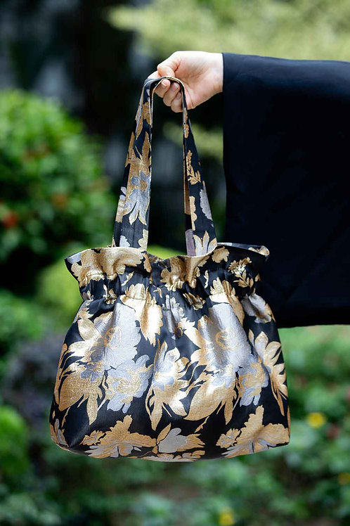 Big Black Gold and Silver Flower Bag