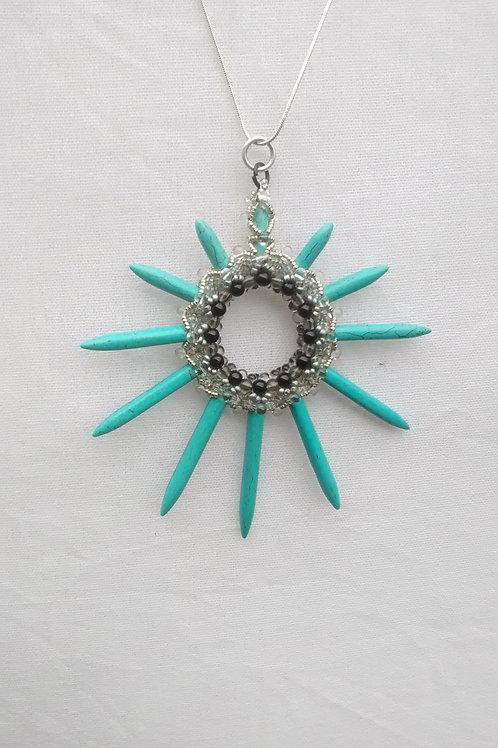 Turquoise star beaded pendant