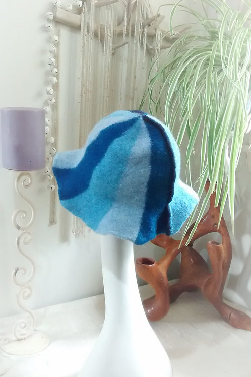 Blue carousel felted hat