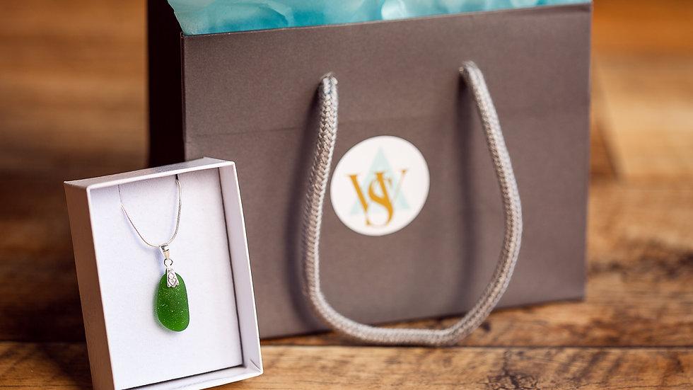 Whitby Seaglass Emerald Pendant