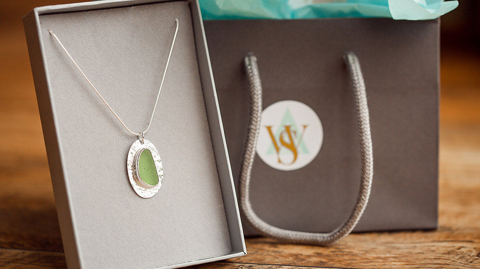 Whitby Seaglass Apple Green Statement Pendant