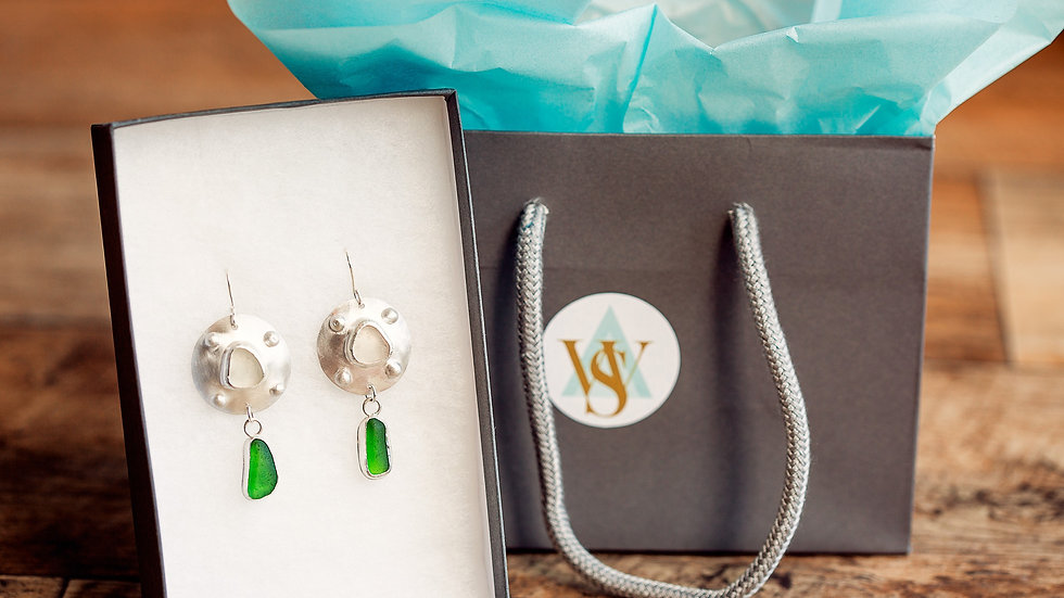 Whitby Seaglass Fashion Statement Earrings