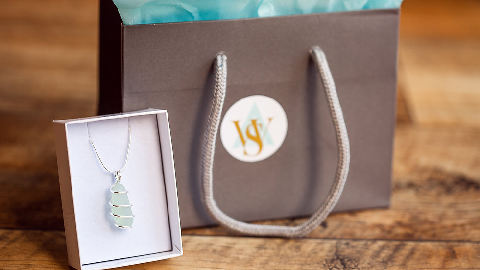 Whitby Seaglass Spiral Wrapped Pendant