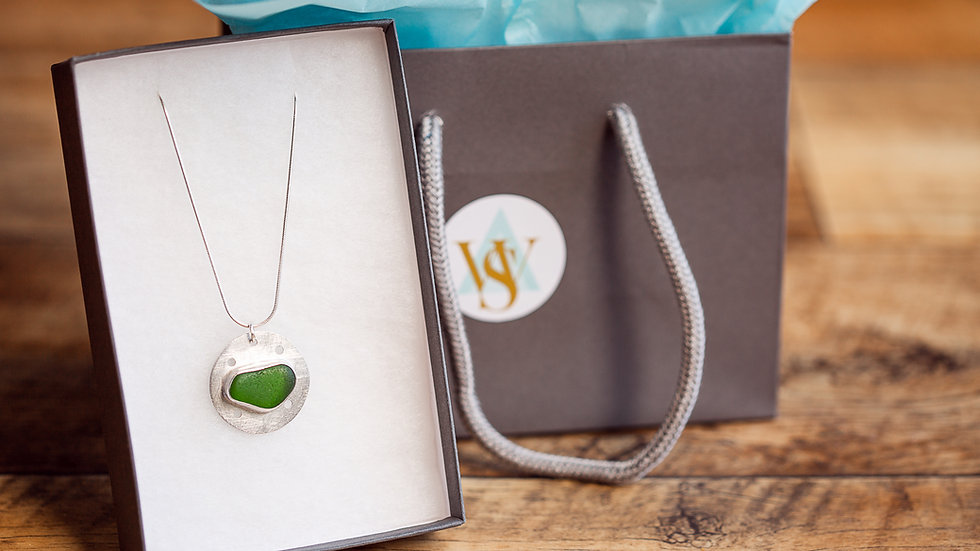 Whitby Seaglass Emerald Green Statement Reversable Pendant