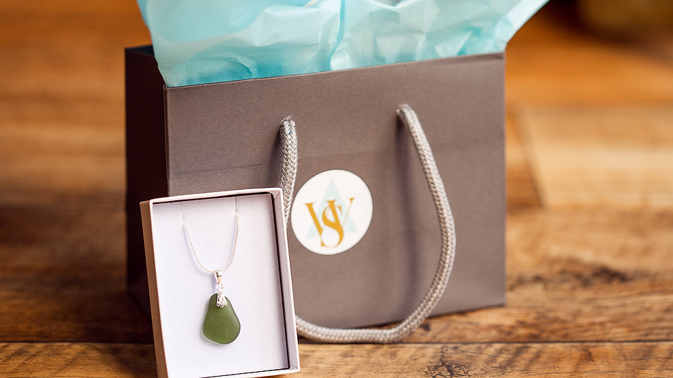 Whitby Seaglass Olive Pendant