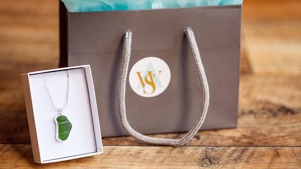 Whitby Seaglass Emerald Green Open Bezel Pendant