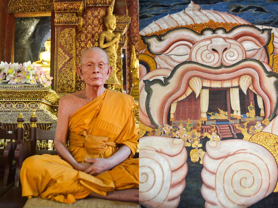 1- Left- Wax Figure at Wat Phra Singh ;