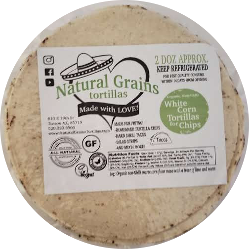 White Corn Tortilla ONLY for Chips | Organic Non GMO | 2 Dozen Packages