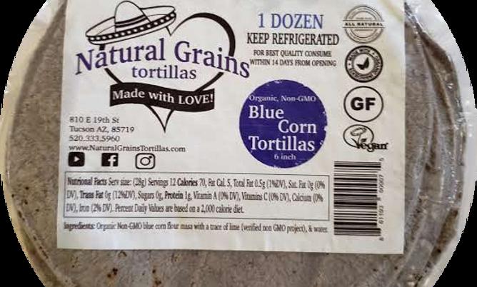"""Blue Corn Tortillas   6""""   Organic Non GMO    6 Dzn"""