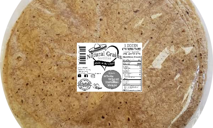 Healthy Whole Wheat Tortilla Wraps | All Natural | Non-GMO | Plant Based| 4 Ingr