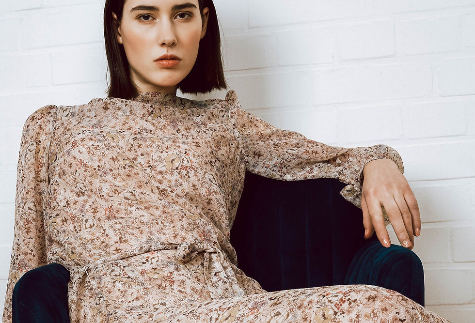 DanleDing Floral Silk Dress