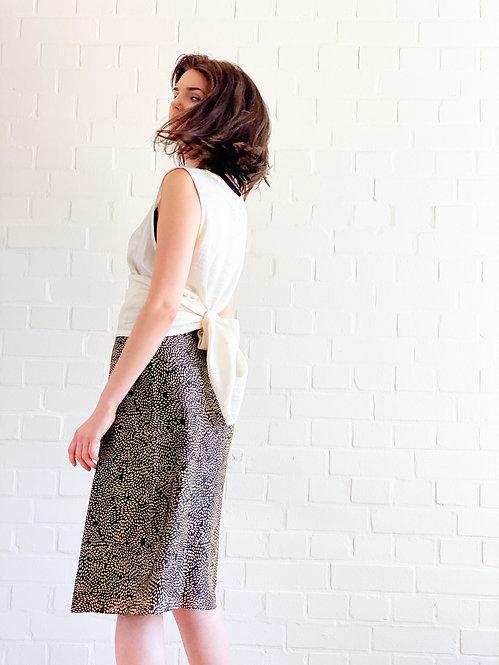 Silk golden-dot skirt